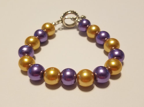 Purple and Gold Glass Pearls