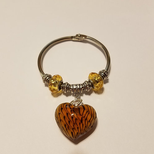 Glass Heart Scarf Ring