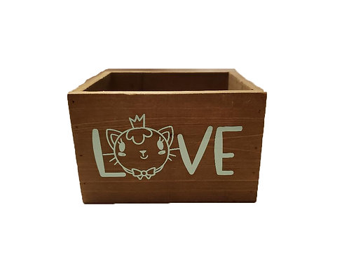 Wood Box - Love with Cat Face