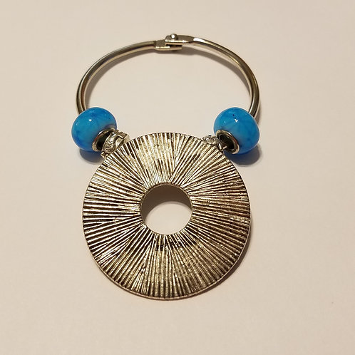 Textured Round with Blue Beads Scarf Ring