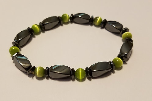 Green Cat's Eye Rounds and Black Twists