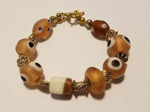 Light Brown with Dots African Glass