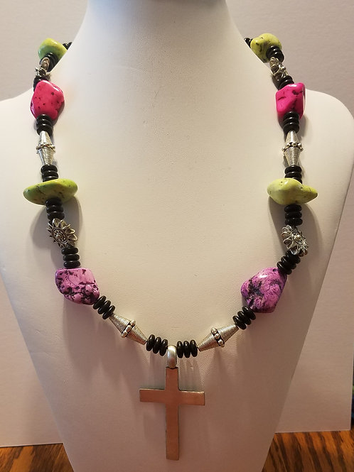 Green/Purple/Pink with Cross