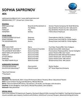 Sophia Sapronov Resume - Theatrical-page