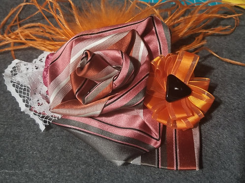 Orange and Pink Feathered Flower Pin