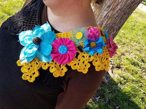 Bright Multicolored Over shoulder flower pin