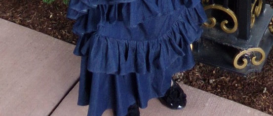 Slanted Ruffles Jean Skirt