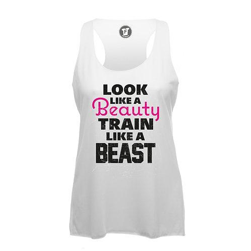 Look Like Beauty Train Like A Beast - Frauen Fitness Tank Top