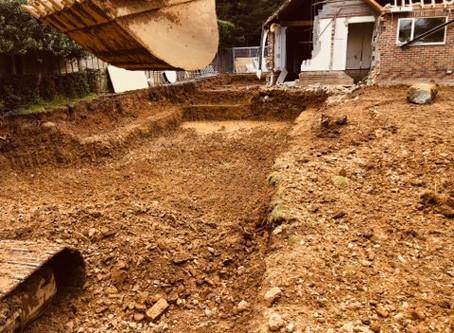 excavations of 20m indoor/outdoor pool in progress