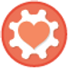 Heart inside a gear icon