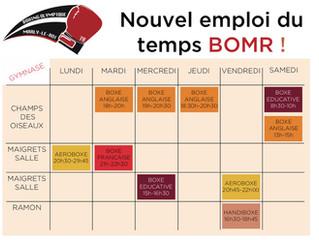 ♦ Nouvel emploi du temps BOMR applicable dès la rentrée de septembre 2019 !