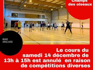 ♦ Cours de samedi 14 décembre annulé