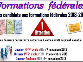 ♦ Formations fédérales 2018/2019