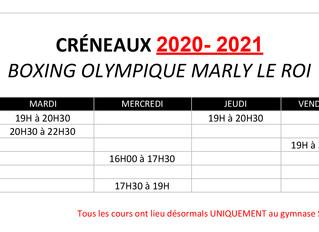 ♦ Nouveaux créneaux BOMR saison sportive 2020/2021