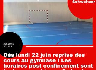 ♦ Reprise des cours au gymnase Schweitzer dès lundi 22 juin !