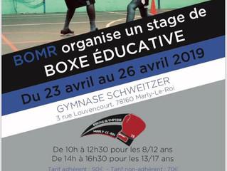 ♦ NOUVELLE ÉDITION : STAGE DE BOXE ÉDUCATIVE | du 23 au 26 avril 2019