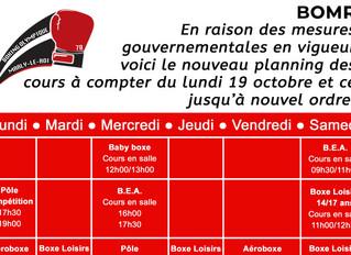 ♦ Nouveau planning des cours à compter de lundi 19 octobre !