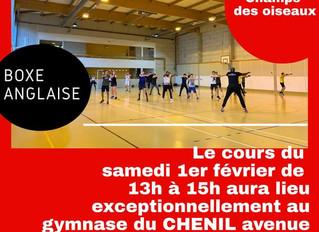 ♦ Samedi 1er février le cours aura lieu au gymnase du Chenil