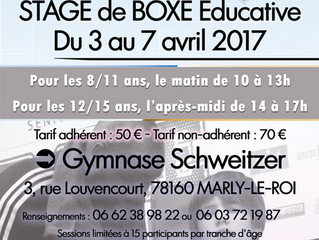 ♦ Du 3 au 7 avril 2017 - Le Boxing Olympique de Marly-le-Roi organise un stage de boxe éducative