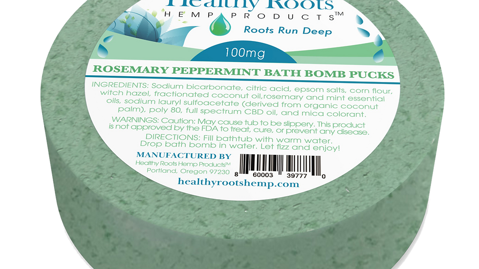 Stay Rooted CBD Bath Bomb Puck Rosemary & Peppermint 100 Mg
