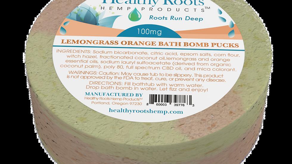 Stay Rooted CBD Bath Bomb Puck Lemongrass And Orange 100 Mg