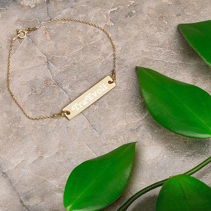 TraEvoli Engraved Silver Bar Chain Bracelet