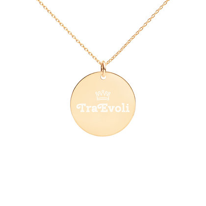 TraEvoli Engraved Silver Disc Necklace