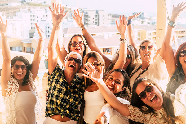 Happy and cheerful group of women friend