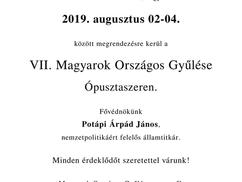 Idén is lesz Magyarok Országos Gyűlése: 2019. augusztus 2–4. Közlemény