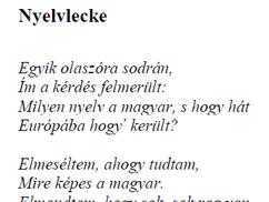 Gyimóthy Gábor levele a Szilaj Csikónak:a Nyelvlecke c. verse eredeti, helyes szövege