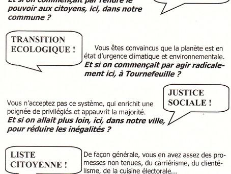 Notre premier tract distribué dans plusieurs quartiers de Tournefeuille ...