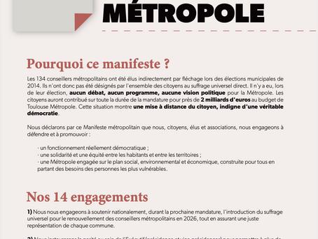 La Liste Citoyenne de Tournefeuille s'engage et signe le MANIFESTE POUR UNE NOUVELLE MÉTROPOLE