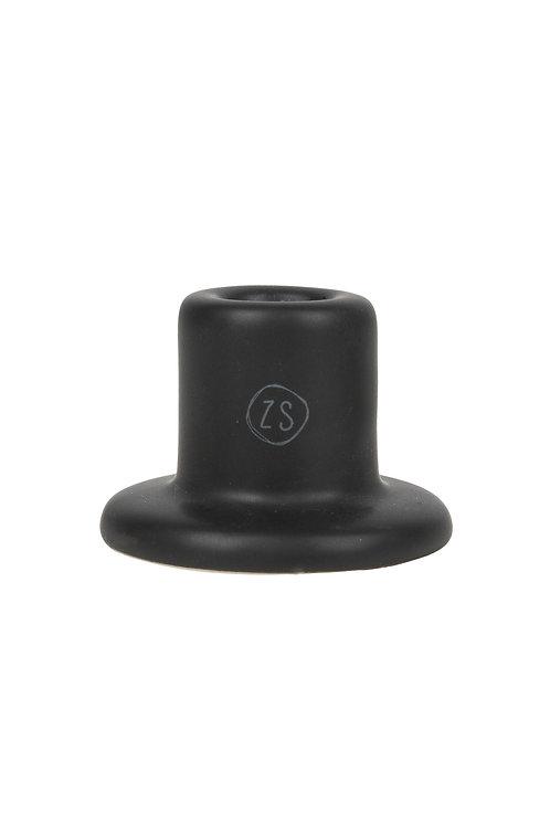 klein kandelaartje keramiek mat zwart