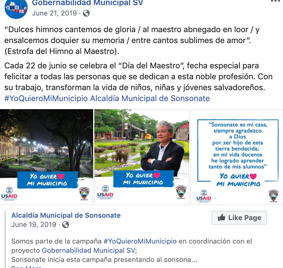 I love my municipality / Yo quiero mi municipio