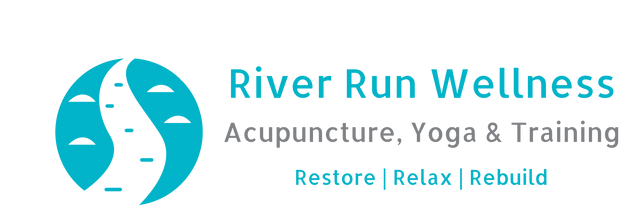 Rive Run Logo Restore Relax Rebuild. Acupuncture, Yoga & Training