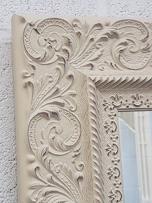 Handcrafted Floral Cream Ornate Bevelled Mirror