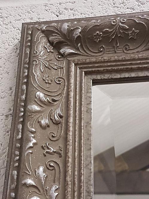 Floral Pewter Ornate Bevelled Mirror