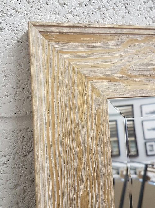 Handcrafted Limed Pine Bevelled Mirror