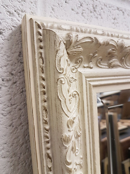 Floral Cream Ornate Bevelled Mirror