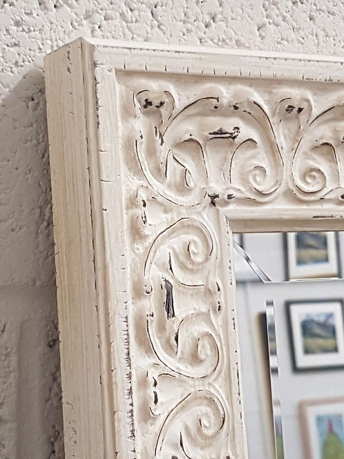 Handcrafted Ornate Distressed White Mirror