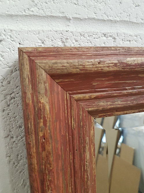 Handcrafted Distressed Shabby Chic Mirror Red
