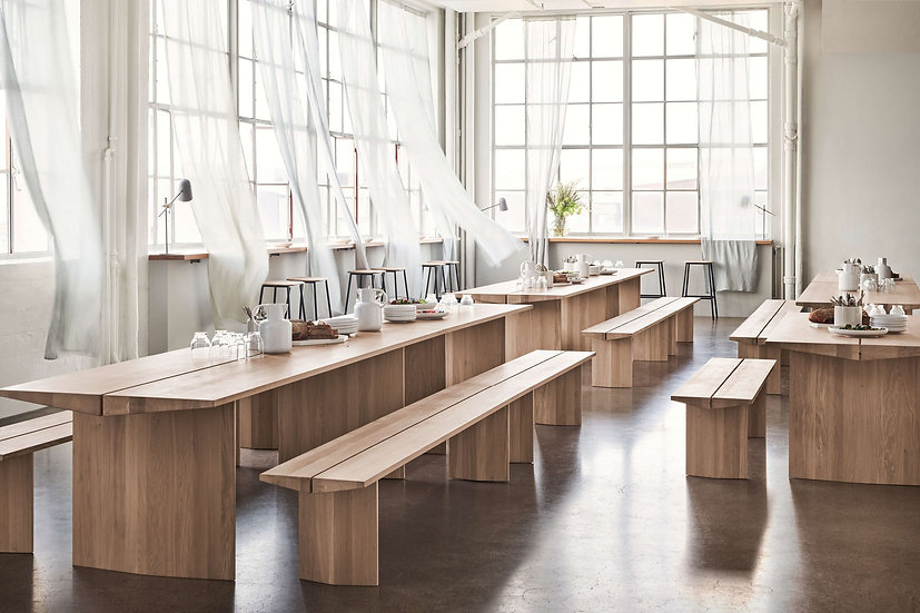 bolia alp tables and benches in restaurant
