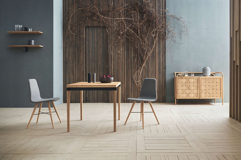 bolia doubleup dining table and dining chairs