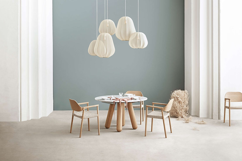 bolia balance dining table with mebla chairs