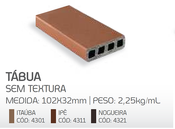 Tábua para deck sem textura - 102x32mm - metro