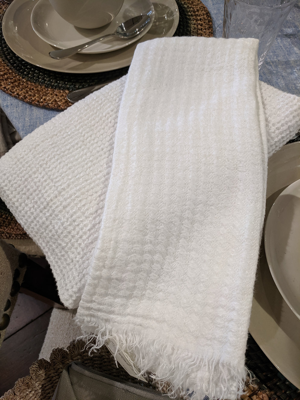 White Waffle Weave Bath Towel Lacefield