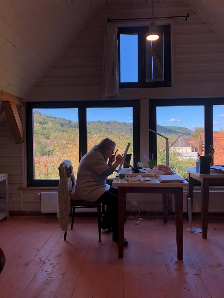Curzon Tussaud hard at work on her Crocus b.