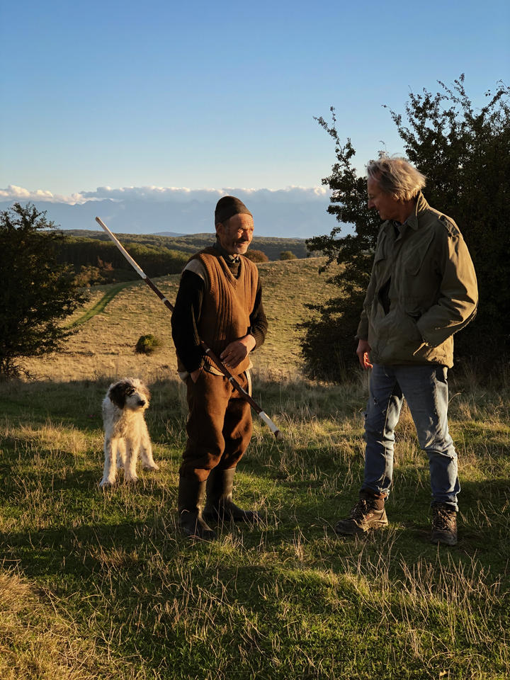 Shepherd Moise & James, with southern Carpathian range in the background.