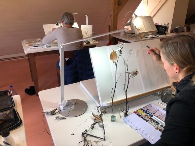 Sara working on her pods