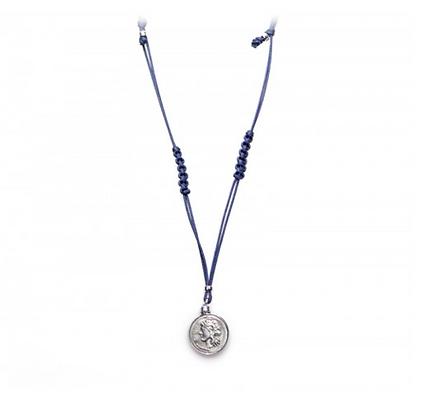 Didramma Unisex Necklace - Navy Blue Rope - Silver - Mars
